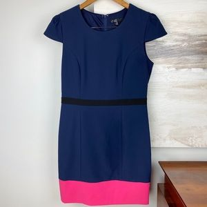 C Luce Navy Hot Pink Black Colorblock Sheath Dress